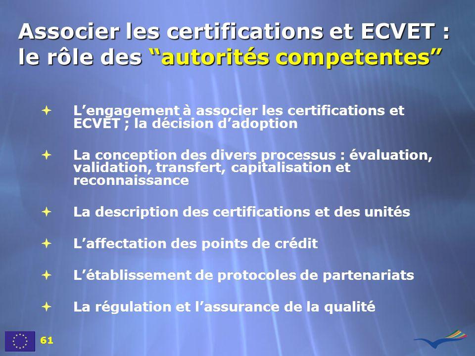 Associer les certifications et ECVET : le rôle des autorités competentes Lengagement à associer les certifications et ECVET ; la décision dadoption La