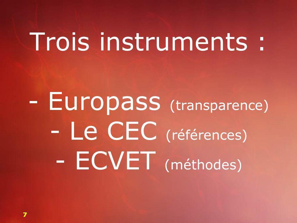Trois instruments : - Europass (transparence) - Le CEC (références) - ECVET (méthodes) 77