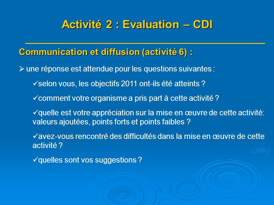 Communication et diffusion (activité 6) : une réponse est attendue pour les questions suivantes : selon vous, les objectifs 2011 ont-ils été atteints