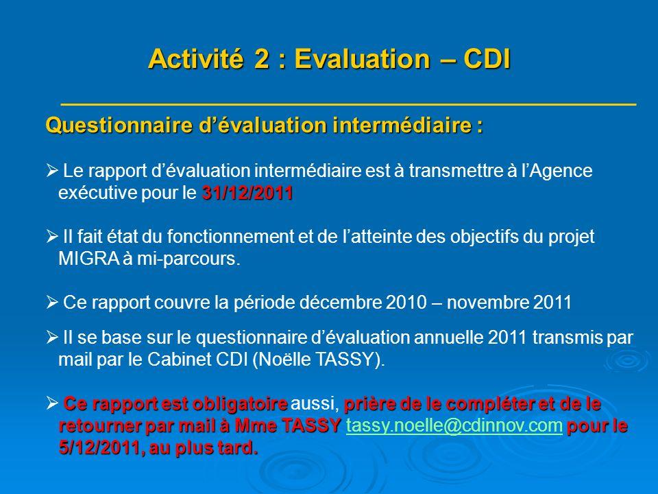 Questionnaire dévaluation intermédiaire : 31/12/2011 Le rapport dévaluation intermédiaire est à transmettre à lAgence exécutive pour le 31/12/2011 Il