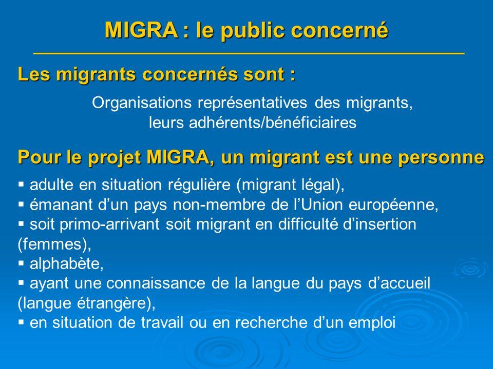 Les migrants concernés sont : Organisations représentatives des migrants, leurs adhérents/bénéficiaires Pour le projet MIGRA, un migrant est une personne adulte en situation régulière (migrant légal), émanant dun pays non-membre de lUnion européenne, soit primo-arrivant soit migrant en difficulté dinsertion (femmes), alphabète, ayant une connaissance de la langue du pays daccueil (langue étrangère), en situation de travail ou en recherche dun emploi MIGRA : le public concerné