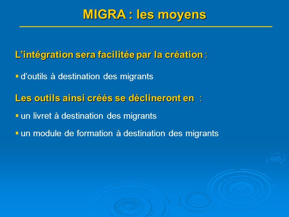 Lintégration sera facilitée par la création : doutils à destination des migrants Les outils ainsi créés se déclineront en : un livret à destination des migrants un module de formation à destination des migrants MIGRA : les moyens