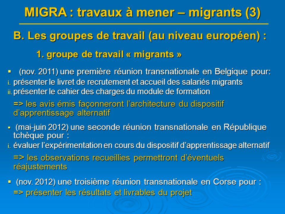MIGRA : travaux à mener – migrants (3) B.Les groupes de travail (au niveau européen) : 1.