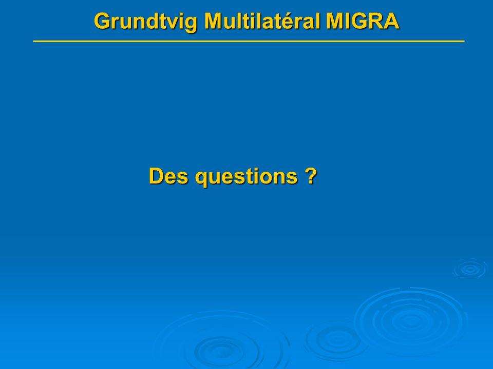 Grundtvig Multilatéral MIGRA Des questions ?