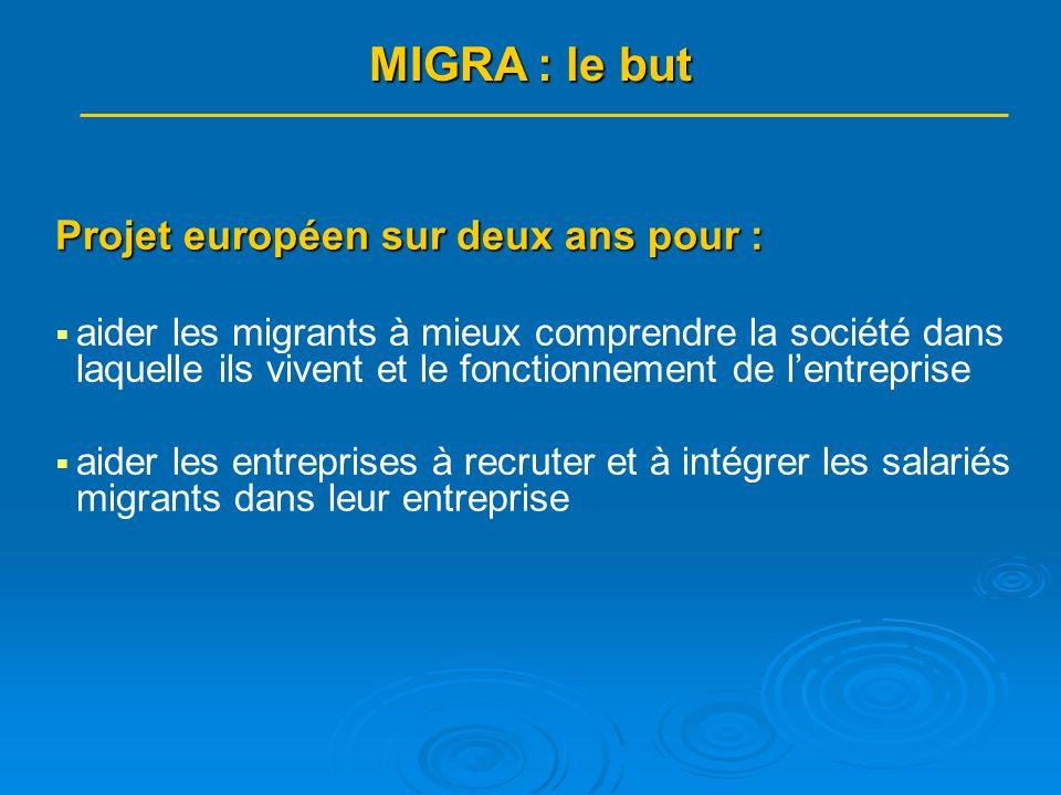 MIGRA : quelques chiffres (2) Pour atteindre ces objectifs : 6 activités (Work-Packages) : 6 activités (Work-Packages) : - coordination et gestion administrative - évaluation - ingénierie du dispositif dapprentissage alternatif i.