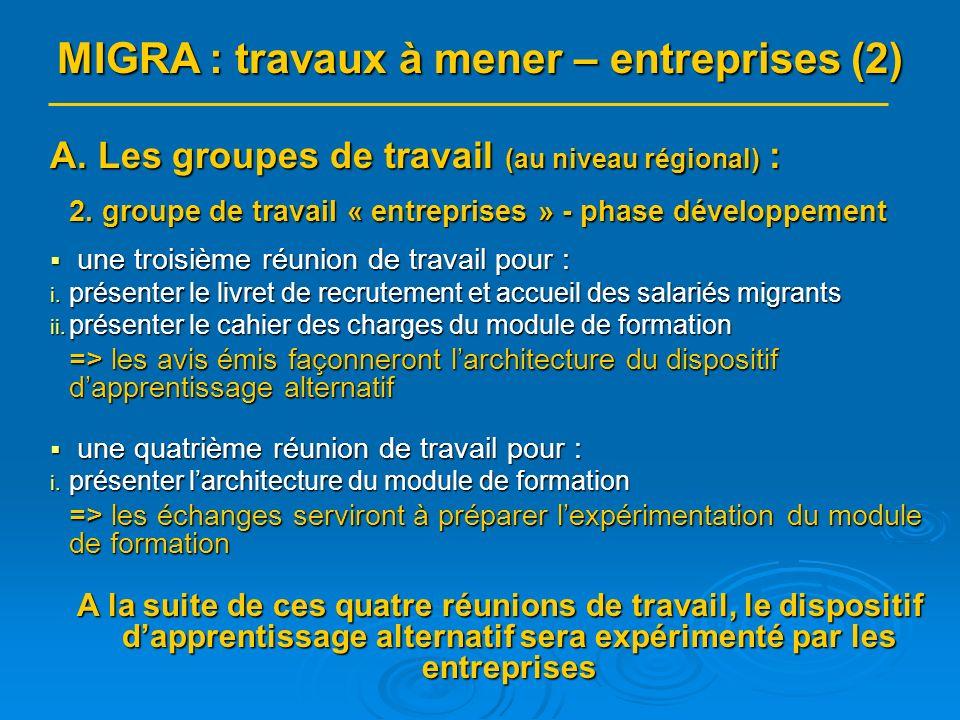 A. Les groupes de travail (au niveau régional) : 2.