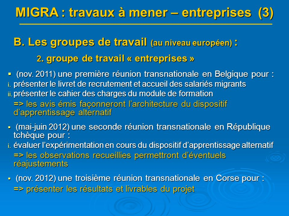 MIGRA : travaux à mener – entreprises (3) B. Les groupes de travail (au niveau européen) : 2.