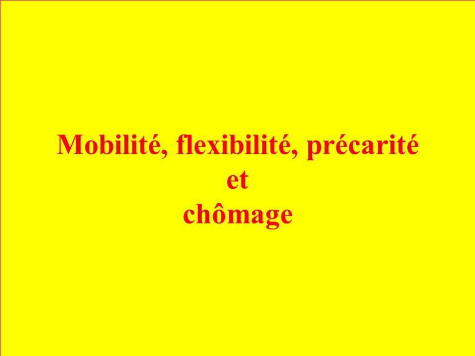 Mobilité, flexibilité, précarité et chômage