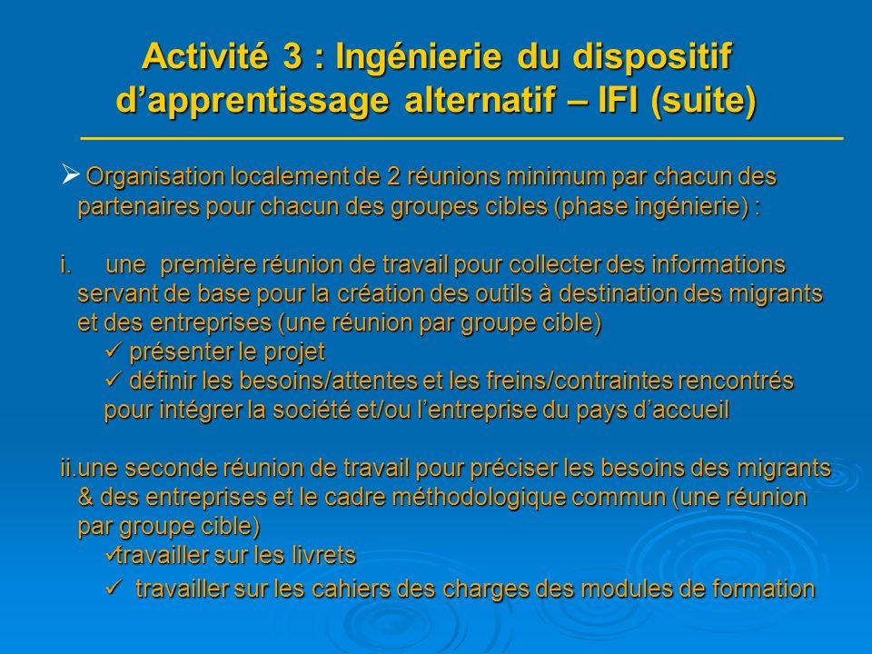 Organisation localement de 2 réunions minimum par chacun des partenaires pour chacun des groupes cibles (phase ingénierie) : i.