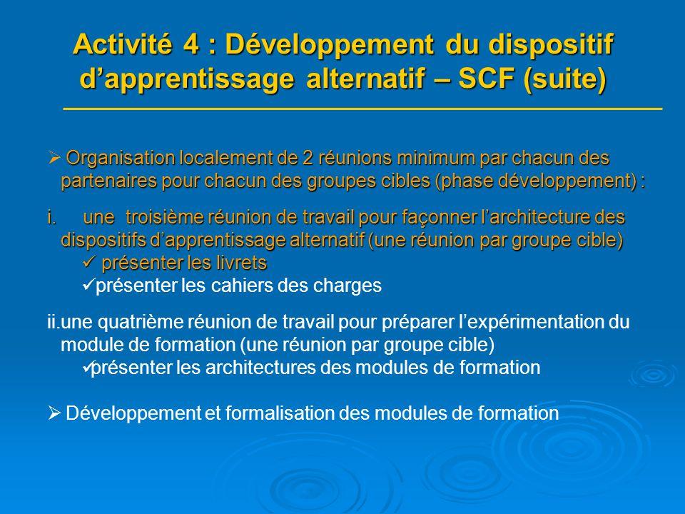 Organisation localement de 2 réunions minimum par chacun des partenaires pour chacun des groupes cibles (phase développement) : i.