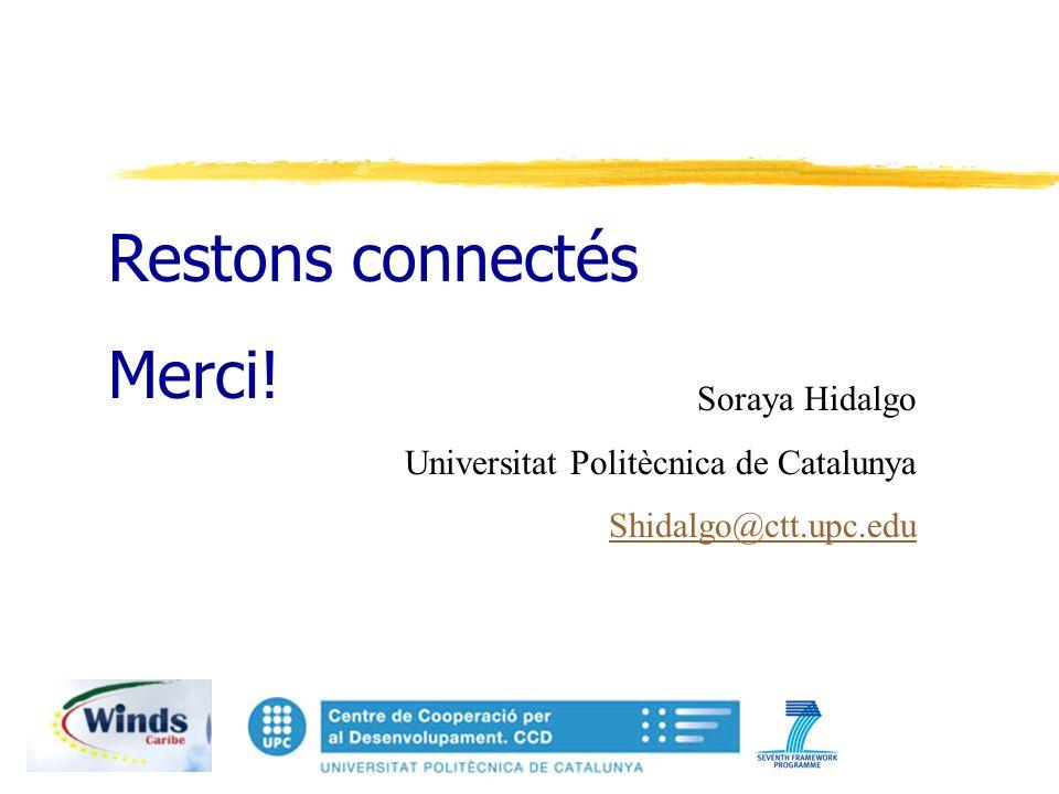 Restons connectés Merci! Soraya Hidalgo Universitat Politècnica de Catalunya Shidalgo@ctt.upc.edu