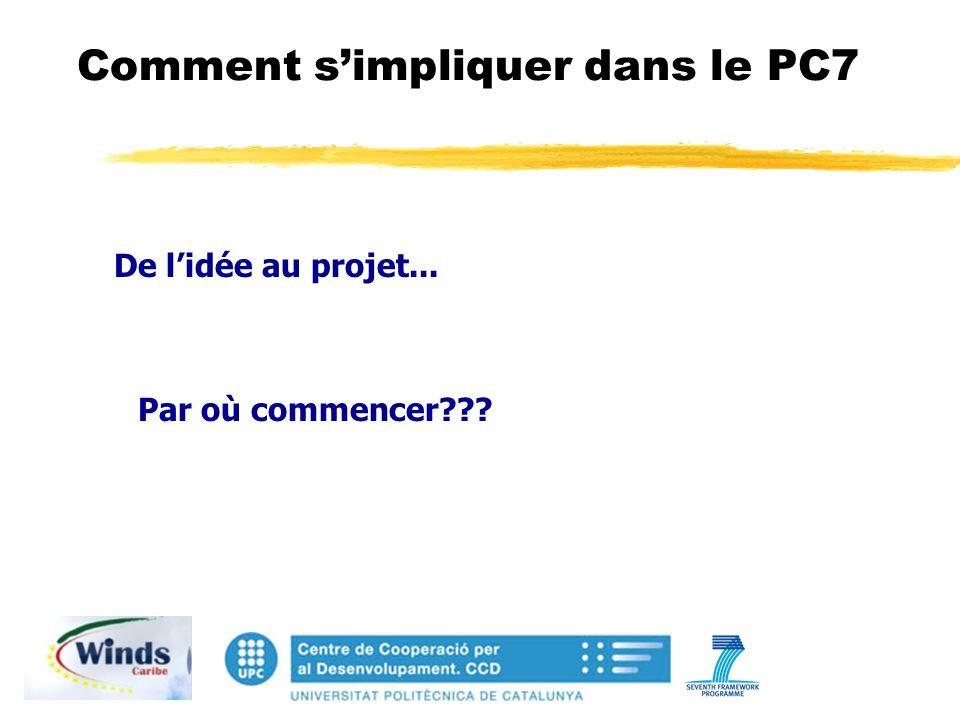 Comment simpliquer dans le PC7 De lidée au projet... Par où commencer