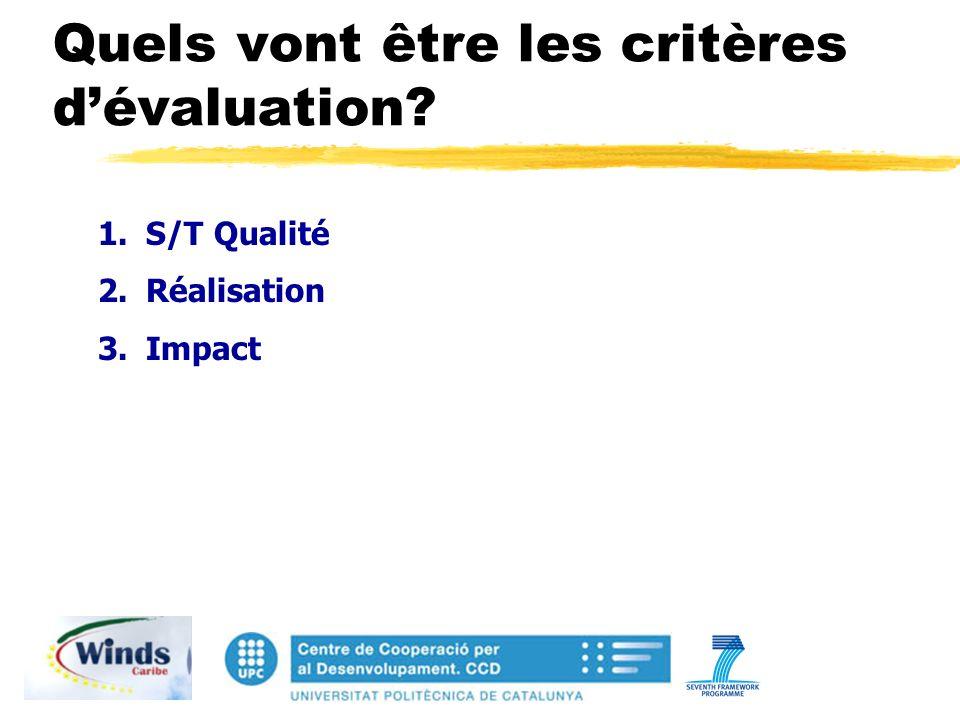 Quels vont être les critères dévaluation 1.S/T Qualité 2.Réalisation 3.Impact
