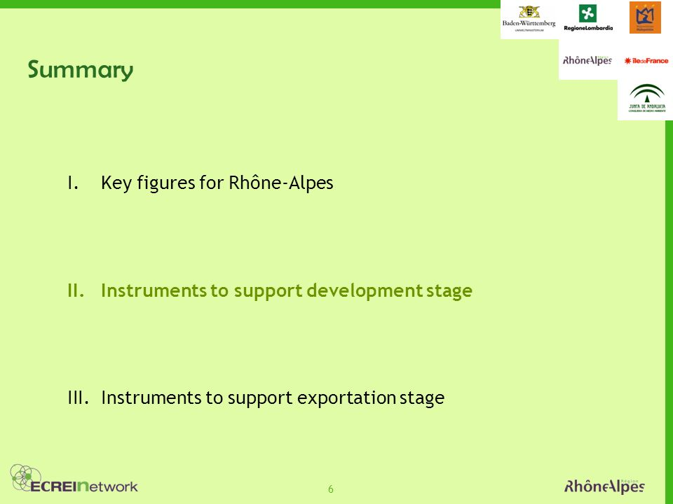 6 Summary I.Key figures for Rhône-Alpes II.Instruments to support development stage III.Instruments to support exportation stage