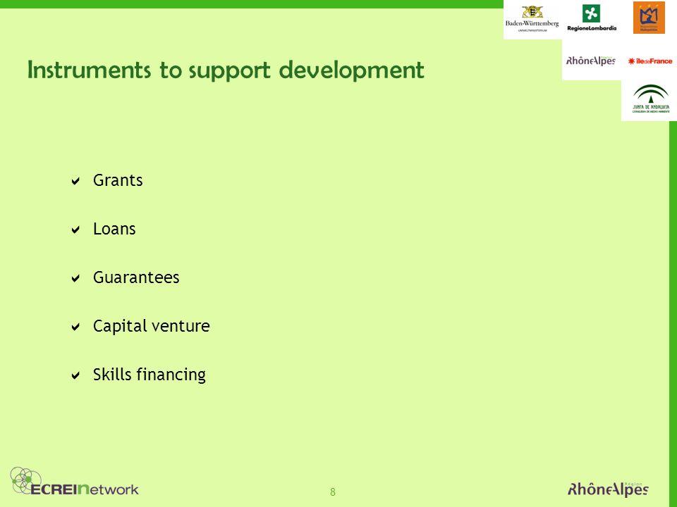 8 Instruments to support development Grants Loans Guarantees Capital venture Skills financing
