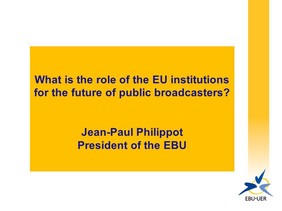 2 EBU-UER 75 membres actifs dans 56 pays dEurope et dalentour 44 membres associés dans le reste du monde Audience des radiodiffuseurs membres : 650 millions de personnes par semaine (30% sur le territoire des 27) Siège : Genève Bureaux : Bruxelles, Londres, Madrid, Moscou, Pékin, Singapour et Washington