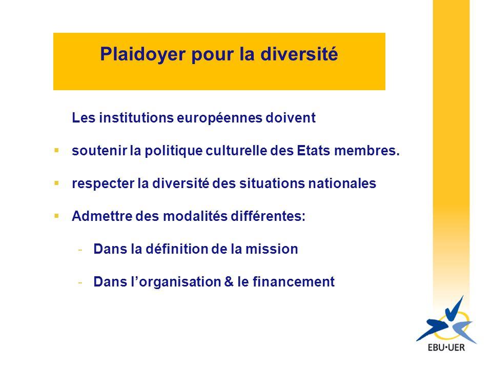 Plaidoyer pour la diversité Les institutions européennes doivent soutenir la politique culturelle des Etats membres.