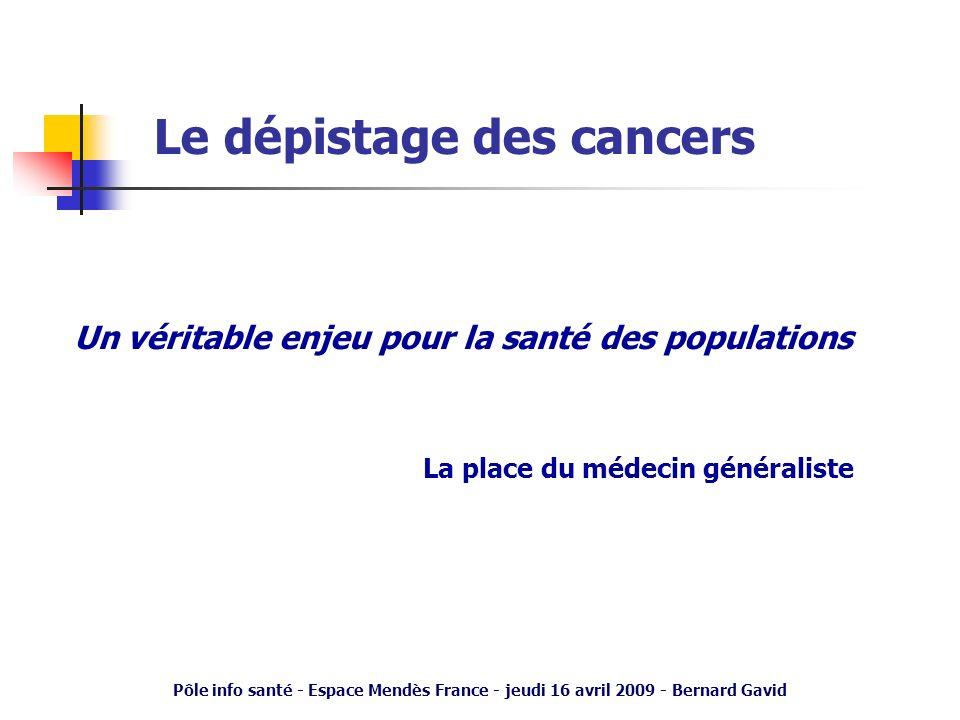 Pôle info santé - Espace Mendès France - jeudi 16 avril 2009 - Bernard Gavid Le concept de « médecin traitant » Prendre en charge la globalité de la santé des patients dans leurs contextes de vie (familiaux – sociaux – professionnels) Assurer – La coordination : le « parcours de soins » – Le suivi : la tenue du « dossier médical » Constat – Diminution relative des pathologies aiguës – Augmentation de la prise en charge des pathologies chroniques (+++), de la prévention et des dépistages