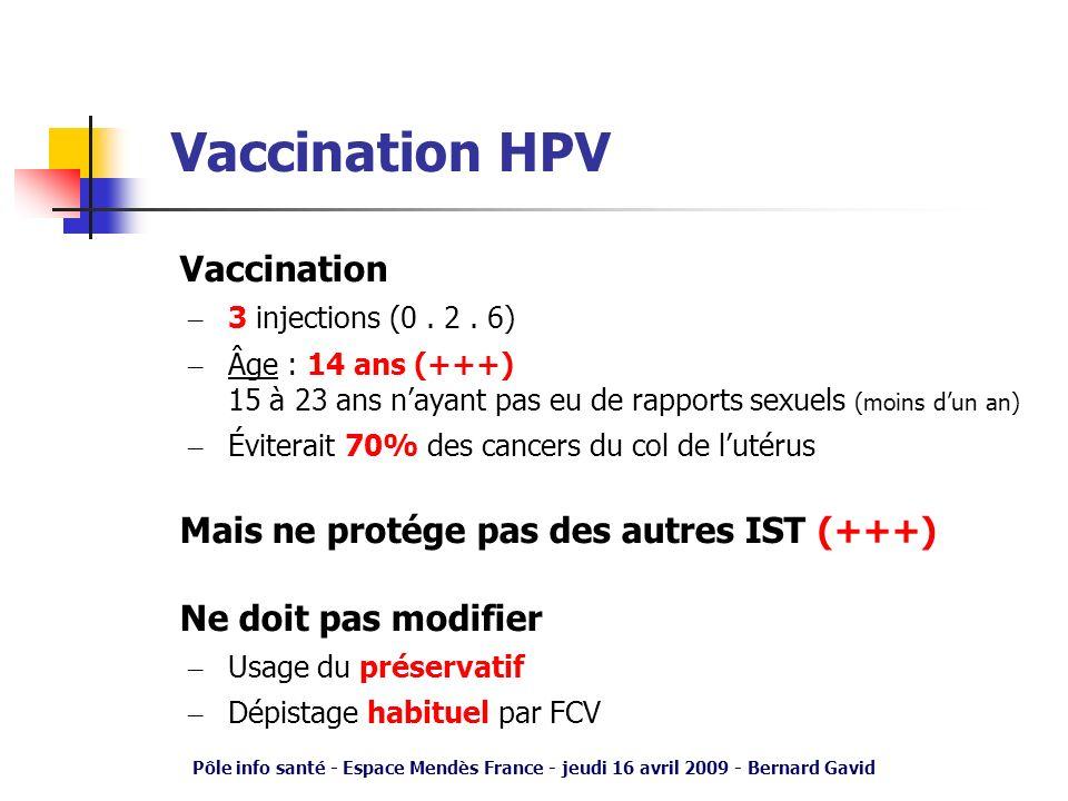 Pôle info santé - Espace Mendès France - jeudi 16 avril 2009 - Bernard Gavid Vaccination HPV Vaccination – 3 injections (0. 2. 6) – Âge : 14 ans (+++)