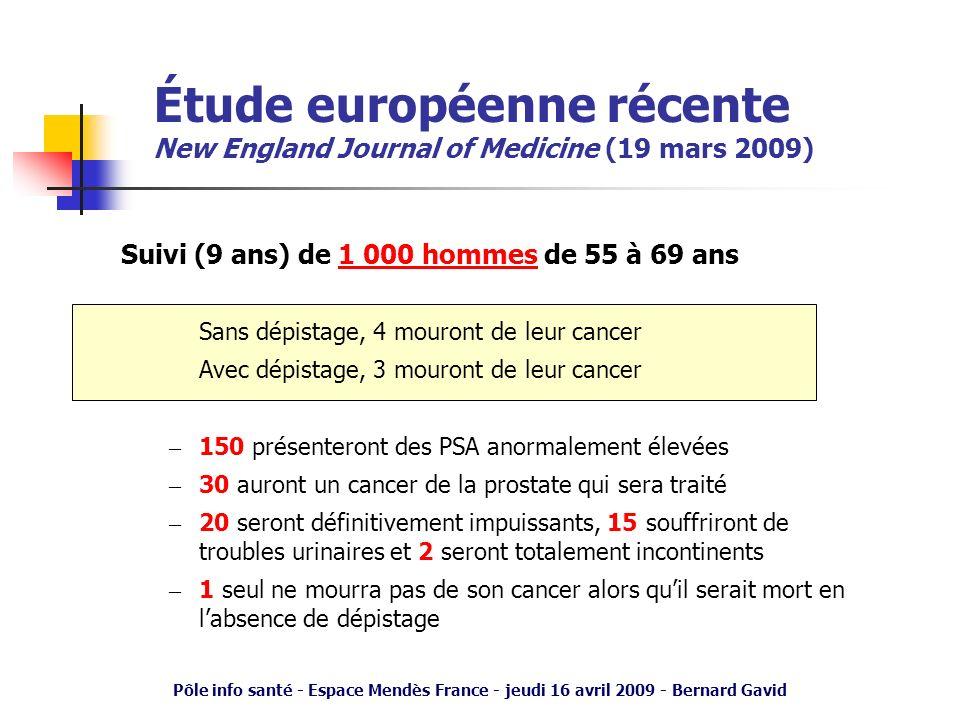 Pôle info santé - Espace Mendès France - jeudi 16 avril 2009 - Bernard Gavid Suivi (9 ans) de 1 000 hommes de 55 à 69 ans Sans dépistage, 4 mouront de