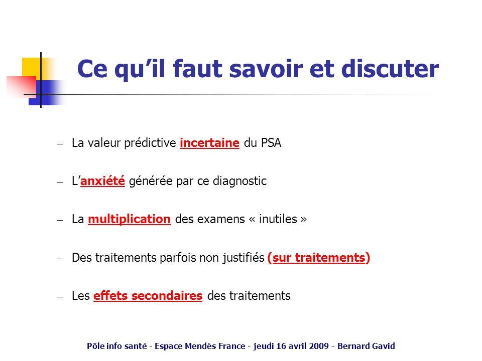 Pôle info santé - Espace Mendès France - jeudi 16 avril 2009 - Bernard Gavid Ce quil faut savoir et discuter – La valeur prédictive incertaine du PSA