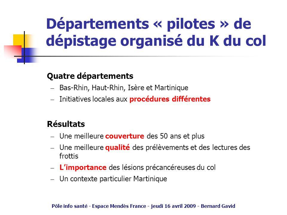 Pôle info santé - Espace Mendès France - jeudi 16 avril 2009 - Bernard Gavid Départements « pilotes » de dépistage organisé du K du col Quatre départe
