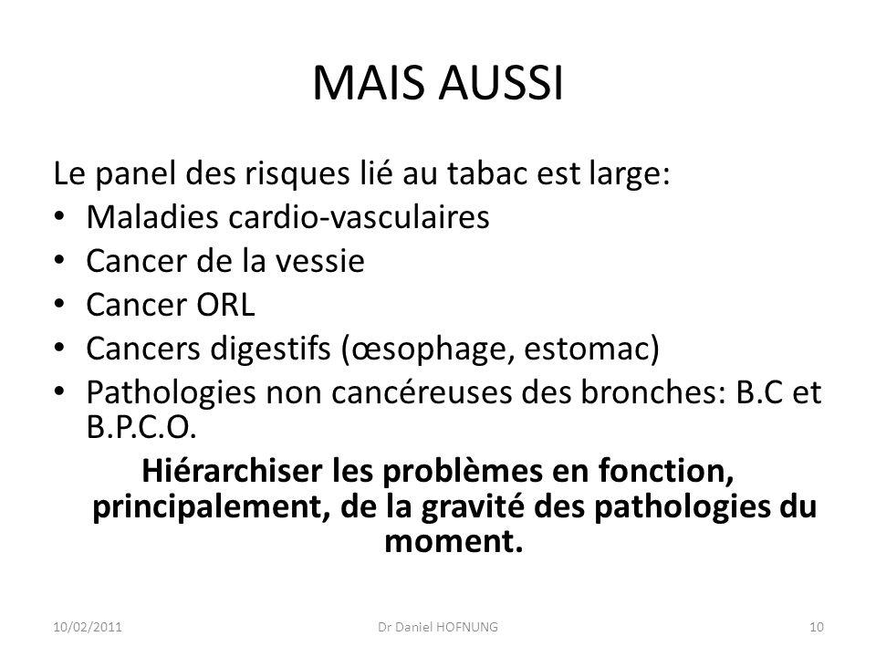10/02/2011Dr Daniel HOFNUNG10 MAIS AUSSI Le panel des risques lié au tabac est large: Maladies cardio-vasculaires Cancer de la vessie Cancer ORL Cancers digestifs (œsophage, estomac) Pathologies non cancéreuses des bronches: B.C et B.P.C.O.