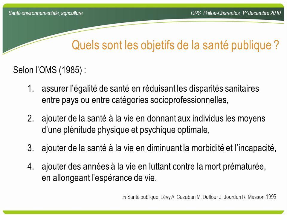 Quels sont les objetifs de la santé publique ? Selon lOMS (1985) : 1.assurer légalité de santé en réduisant les disparités sanitaires entre pays ou en