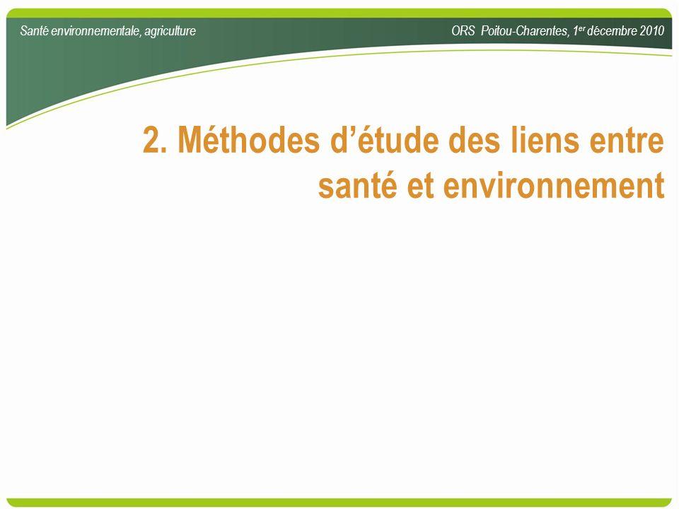 2. Méthodes détude des liens entre santé et environnement Santé environnementale, agricultureORS Poitou-Charentes, 1 er décembre 2010