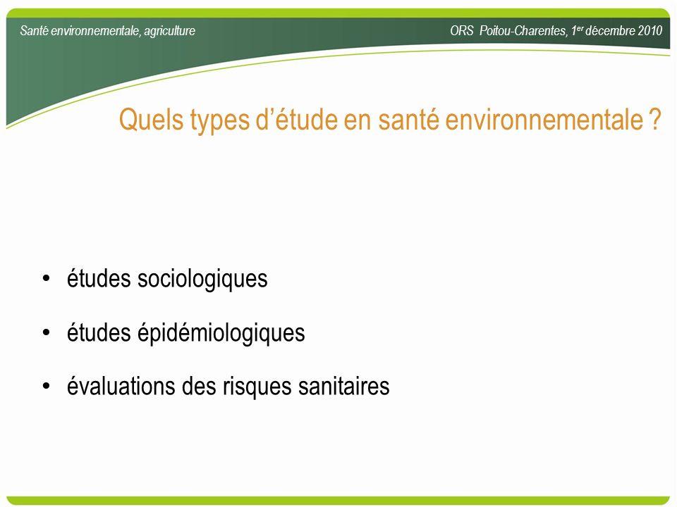 Quels types détude en santé environnementale ? études sociologiques études épidémiologiques évaluations des risques sanitaires Santé environnementale,
