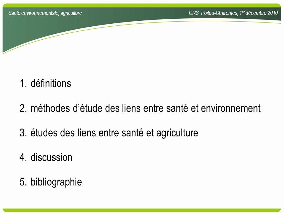 1.définitions 2.méthodes détude des liens entre santé et environnement 3.études des liens entre santé et agriculture 4.discussion 5.bibliographie Sant