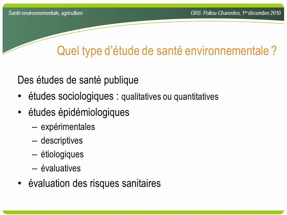 Quel type détude de santé environnementale ? Des études de santé publique études sociologiques : qualitatives ou quantitatives études épidémiologiques
