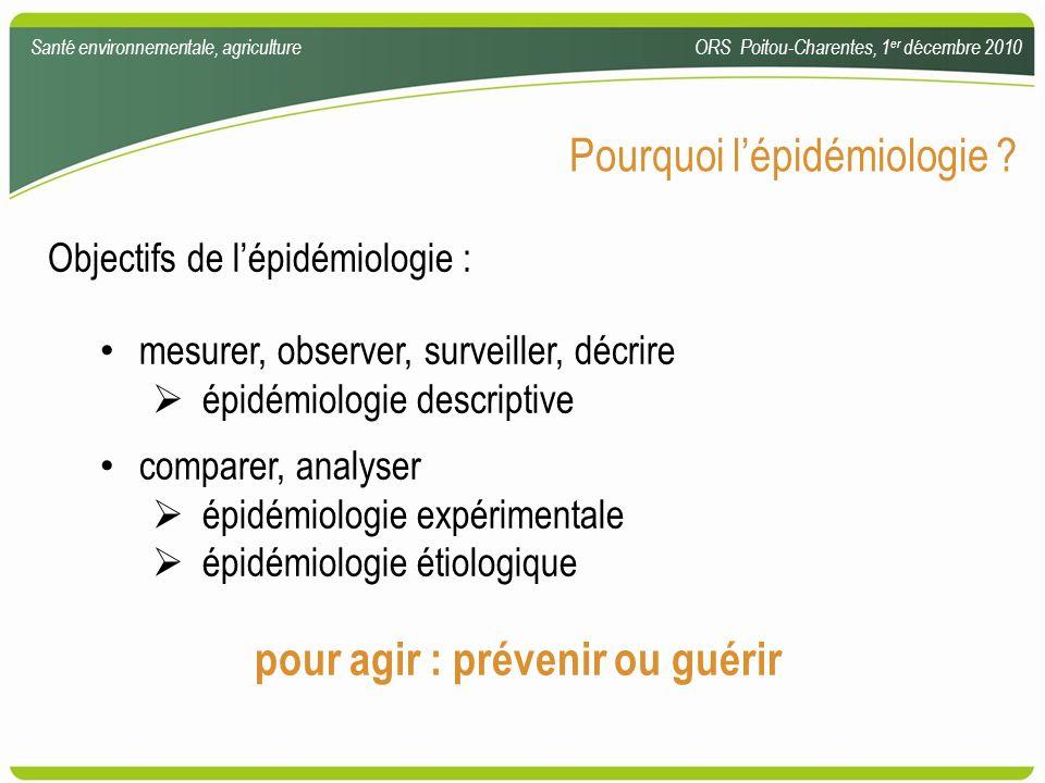 Pourquoi lépidémiologie ? Objectifs de lépidémiologie : mesurer, observer, surveiller, décrire épidémiologie descriptive comparer, analyser épidémiolo