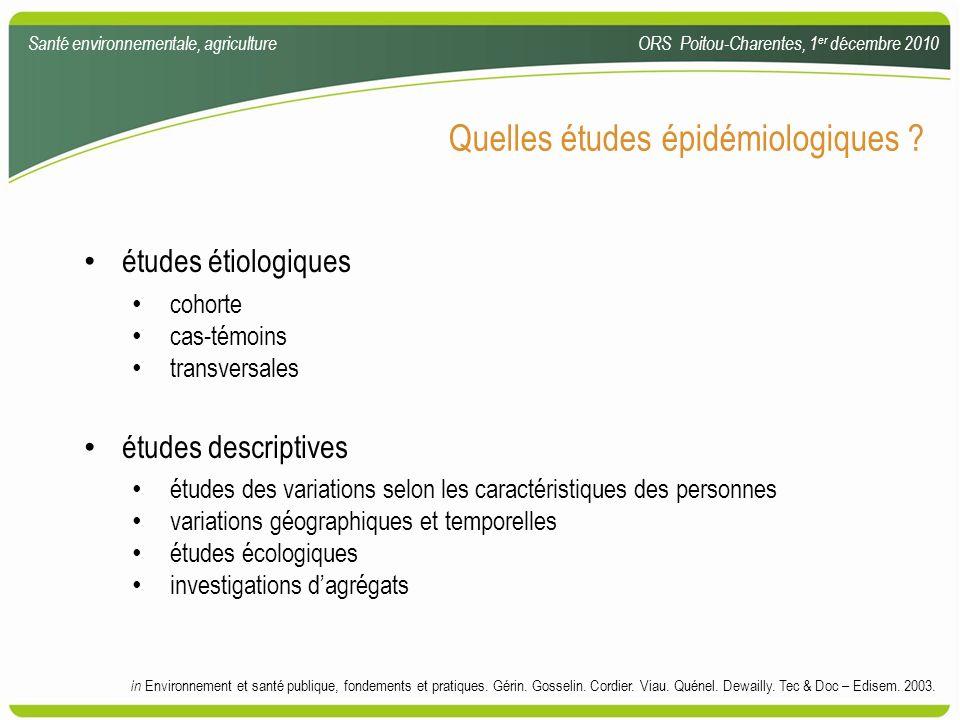 Quelles études épidémiologiques ? études étiologiques cohorte cas-témoins transversales études descriptives études des variations selon les caractéris