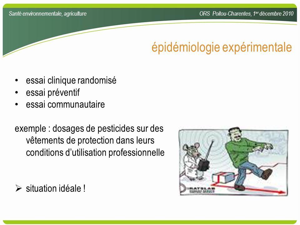 épidémiologie expérimentale essai clinique randomisé essai préventif essai communautaire exemple : dosages de pesticides sur des vêtements de protecti