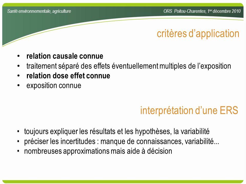 critères dapplication relation causale connue traitement séparé des effets éventuellement multiples de lexposition relation dose effet connue expositi