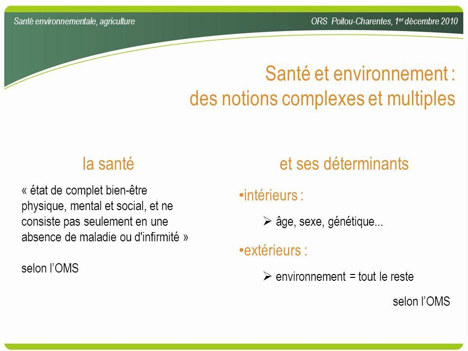 Comparaison des types détudes épidémiologiques Santé environnementale, agricultureORS Poitou-Charentes, 1 er décembre 2010 champ dapplicationécologiquetransversalecas témoinde cohorte investigation deffet sanitaire rare++++-+++++- investigation dexposition rare++--+++++ étude deffets multiples liés à une cause+++-+++++ étude dexpositions et déterminants multiples ++ +++++++ mesure dune relation temporelle entre exposition et effet ++-+a+a +++++ mesure directe de lincidence--+b+b +++++ investigation deffets sanitaires avec de longues périodes de latence --++++ c /- Source : enHealth Council 2002.