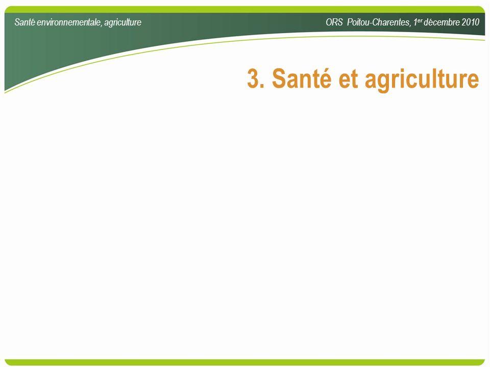 3. Santé et agriculture Santé environnementale, agricultureORS Poitou-Charentes, 1 er décembre 2010