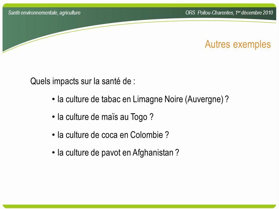 Autres exemples Quels impacts sur la santé de : la culture de tabac en Limagne Noire (Auvergne) ? la culture de maïs au Togo ? la culture de coca en C