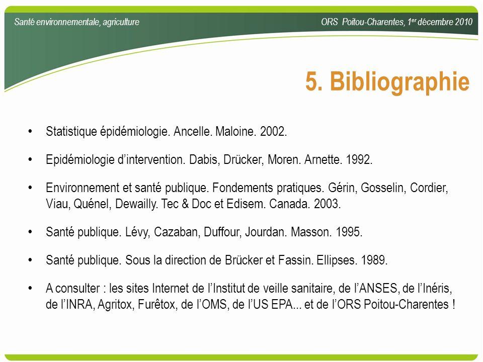 Statistique épidémiologie. Ancelle. Maloine. 2002. Epidémiologie dintervention. Dabis, Drücker, Moren. Arnette. 1992. Environnement et santé publique.