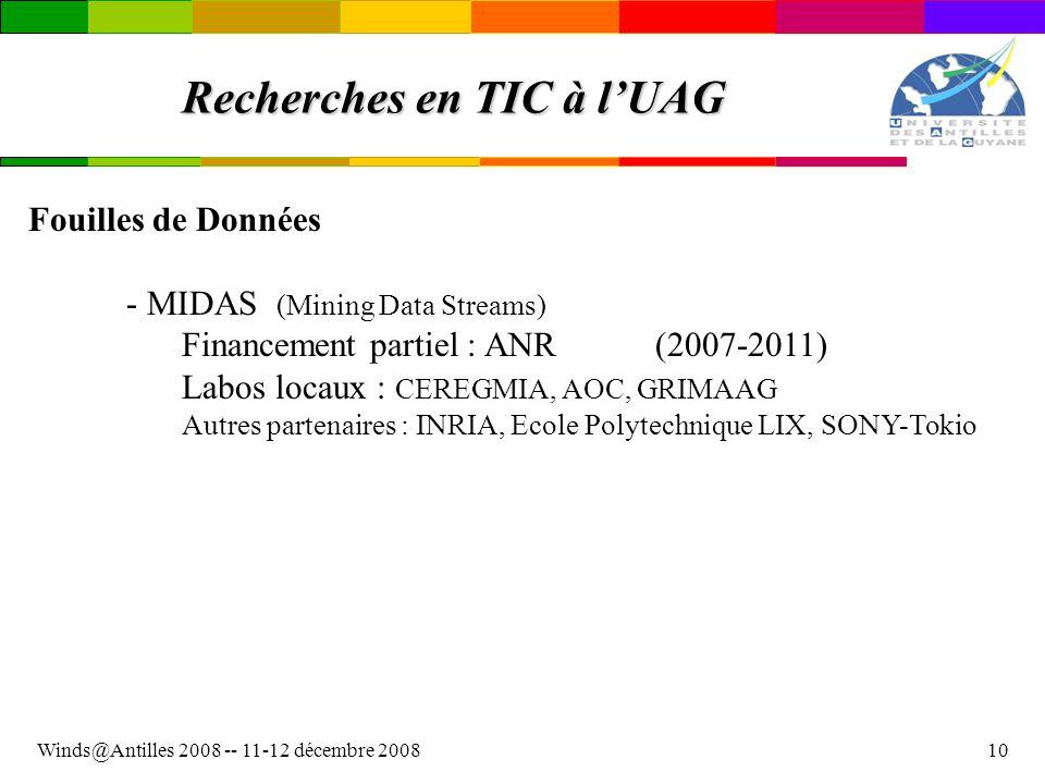 Winds@Antilles 2008 -- 11-12 décembre 200810 Recherches en TIC à lUAG Fouilles de Données - MIDAS (Mining Data Streams) Financement partiel : ANR(2007