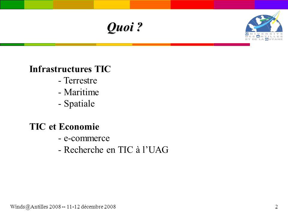 Winds@Antilles 2008 -- 11-12 décembre 20082 Quoi ? Infrastructures TIC - Terrestre - Maritime - Spatiale TIC et Economie - e-commerce - Recherche en T
