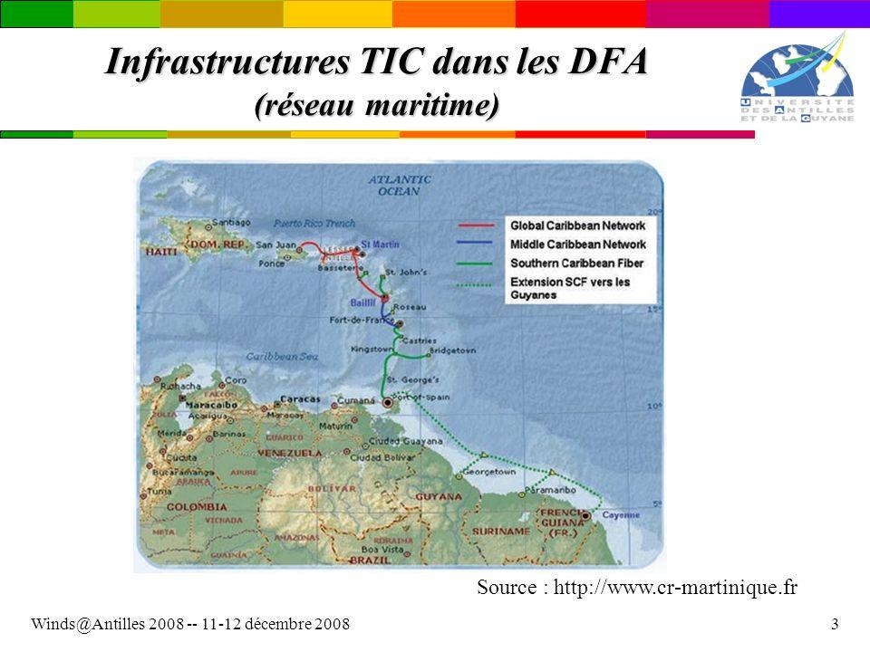Winds@Antilles 2008 -- 11-12 décembre 20084 Infrastructures TIC dans les DFA (réseau terrestre) Source : http://www.cr-martinique.fr