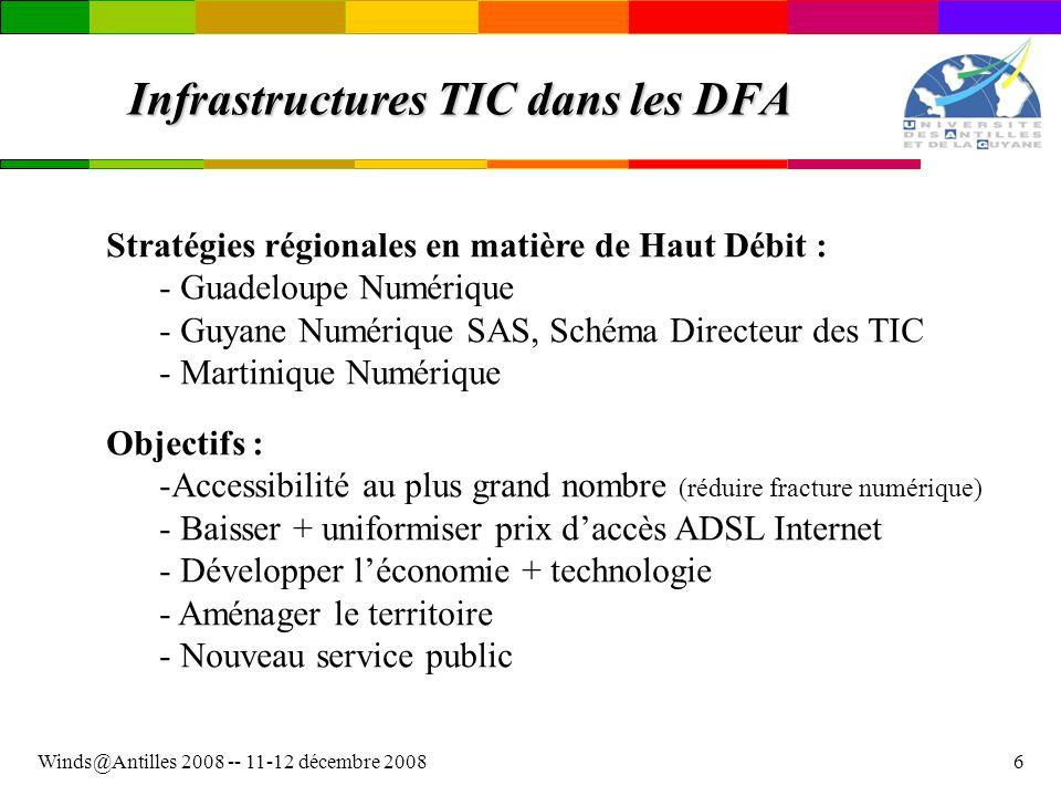 Winds@Antilles 2008 -- 11-12 décembre 20086 Infrastructures TIC dans les DFA Stratégies régionales en matière de Haut Débit : - - Guadeloupe Numérique