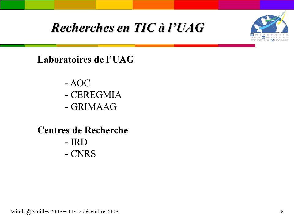 Winds@Antilles 2008 -- 11-12 décembre 20089 Recherches en TIC à lUAG Traitement dimages - SEAS - Guyane (Exploitation dimages satellitaires) Centre Spatial Guyanais Labos locaux : IRD, GRER - GAIA (Géométrie Algorithmique de lInformation et ses Appli.) Financement partiel : ANR(2007-2010) Labos locaux : CEREGMIA, GRIMAAG, CHU Meynard Autres partenaires : Ecole des Mines dAlès, ENST, EDF R&D, INRIA, FT R&D, LIRMM Montpellier …