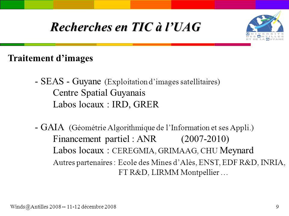Winds@Antilles 2008 -- 11-12 décembre 20089 Recherches en TIC à lUAG Traitement dimages - SEAS - Guyane (Exploitation dimages satellitaires) Centre Sp
