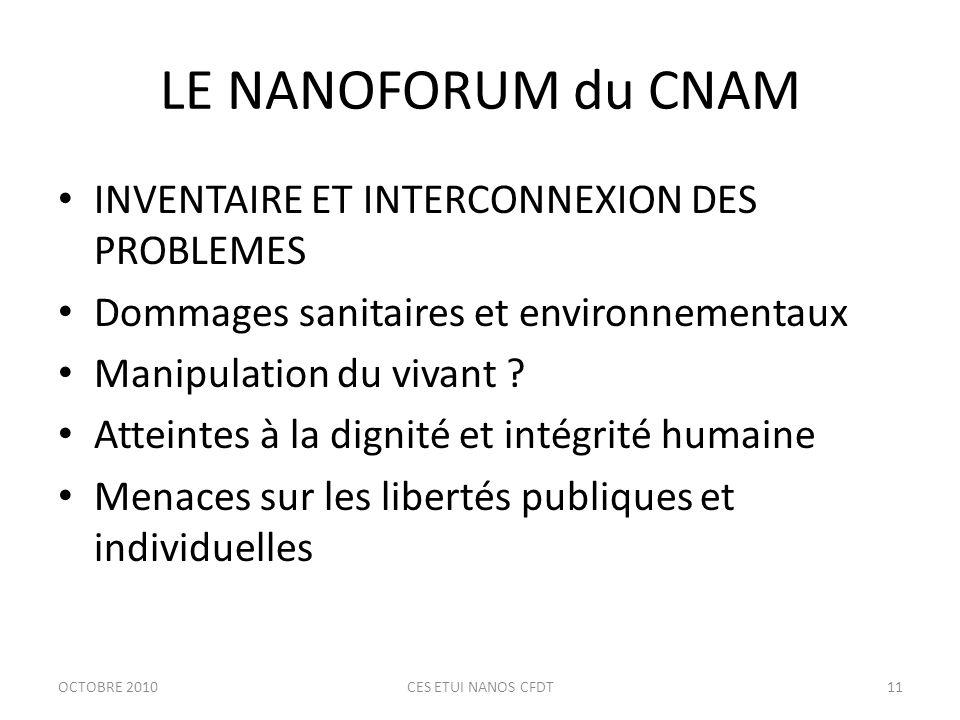 LE NANOFORUM du CNAM INVENTAIRE ET INTERCONNEXION DES PROBLEMES Dommages sanitaires et environnementaux Manipulation du vivant .