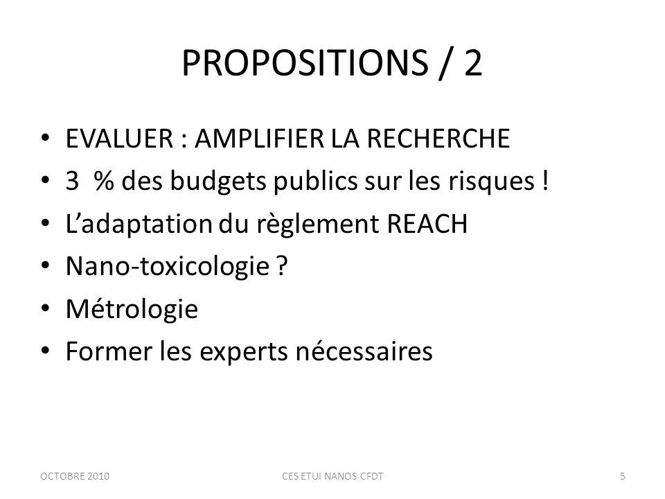 PROPOSITIONS / 2 EVALUER : AMPLIFIER LA RECHERCHE 3 % des budgets publics sur les risques .