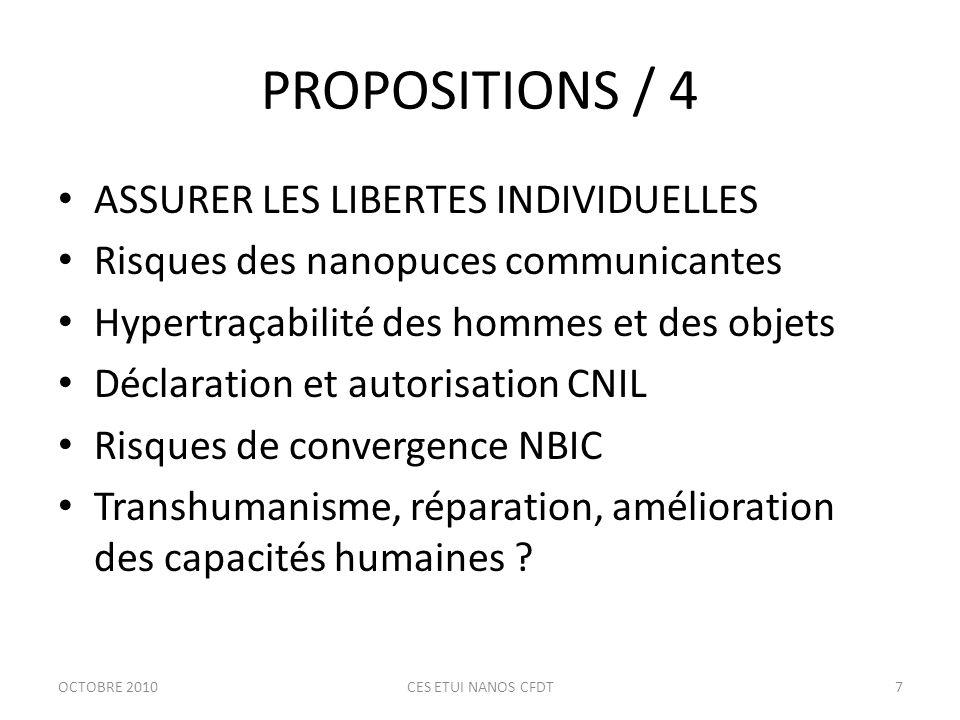 PROPOSITIONS / 5 UN ENCADREMENT ETHIQUE Transparence de linformation Comité déthique en milieu scientifique Rôle des pouvoirs publics .