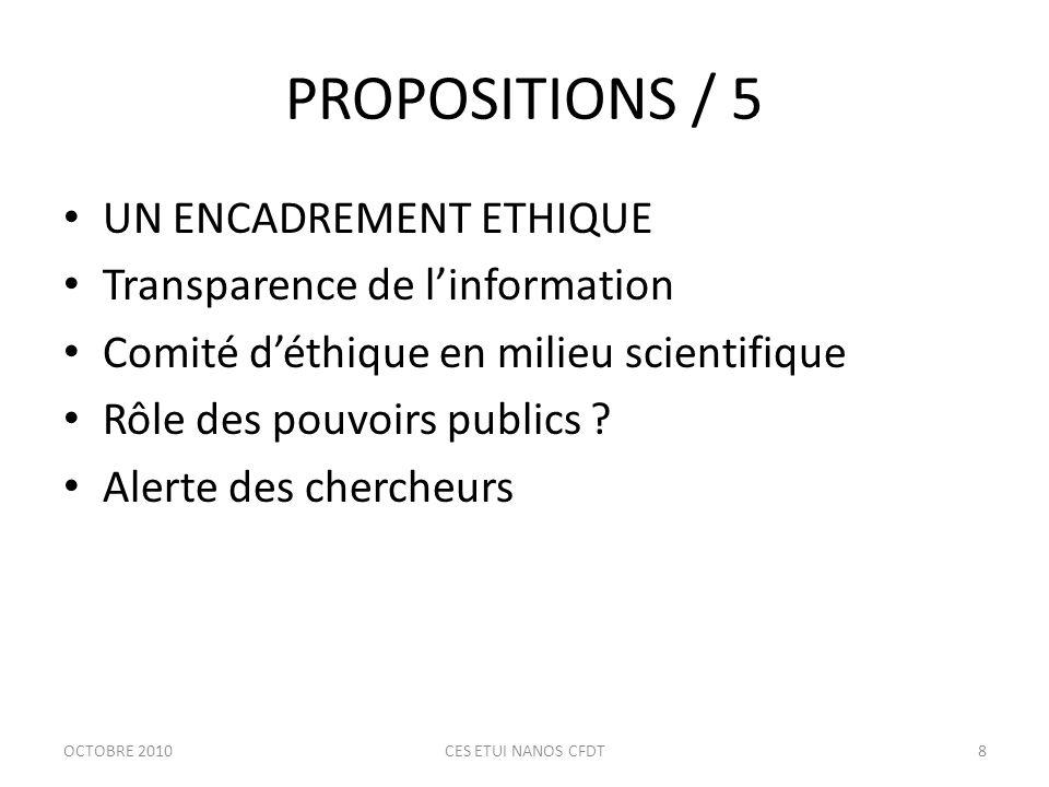 PROPOSITIONS / 6 UNE NOUVELLE GOUVERNANCE Vigilance de tous, transparence Poursuite du débat Nouvelle autorité associant tous les acteurs Prolongement européen « gouvernance inclusive des activités à risques » .